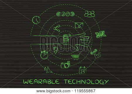 Hand With Smartwatch And Icons Spinning Around, Wearable Technology