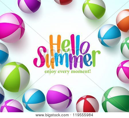 Colorful Vector Beach Balls Background in White with Hello Summer