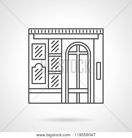 Photo studio facade flat line vector icon