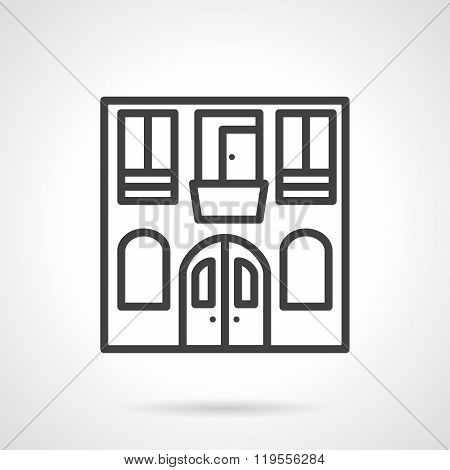 Hostel facade black line design vector icon