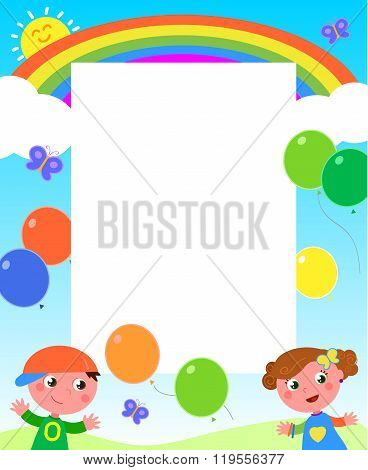Rainbow kids and balloons frame