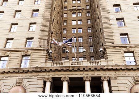 facade of building with USA flay