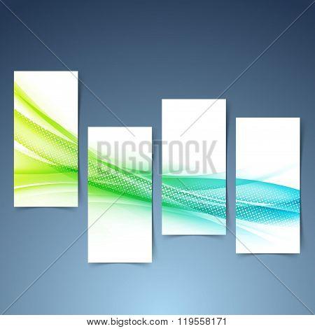 Modern Green Blue Futuristic Swoosh Banner Set