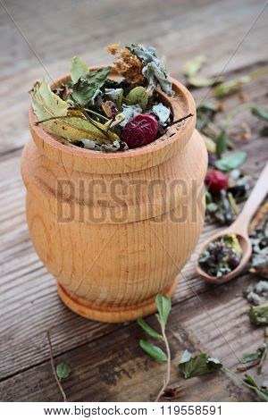 Herbal Tea Made From Various Medicinal Plants, Selective Focus