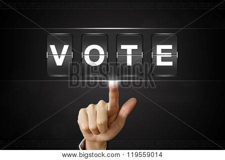 Business Hand Clicking Vote On Flipboard