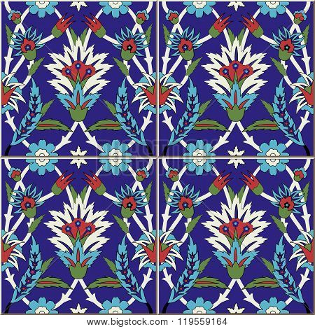 Seamless  pattern .  Turkish, Moroccan, Portuguese  tiles, Azulejo, ornaments.  Islamic Art.