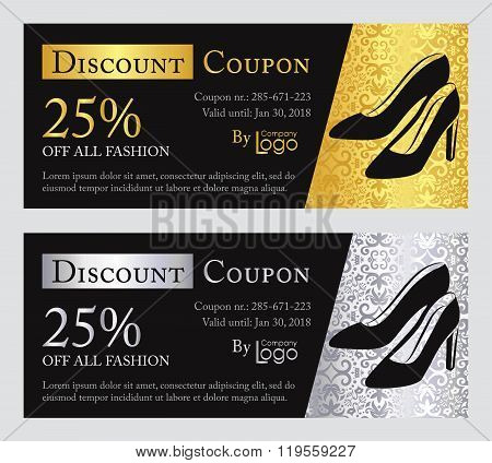 Fashion Discount Coupon With Line Illustration Of Pumps On Gold And Silver Background With Damask Pa