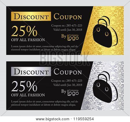 Fashion Discount Coupon With Line Illustration Of Handbag On Rose Quartz And Baby Blue Background