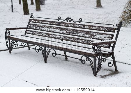 Snowy Bench in Park