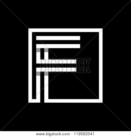 Capital letter F  . Overlapping with shadows monogram, logo, emblem.