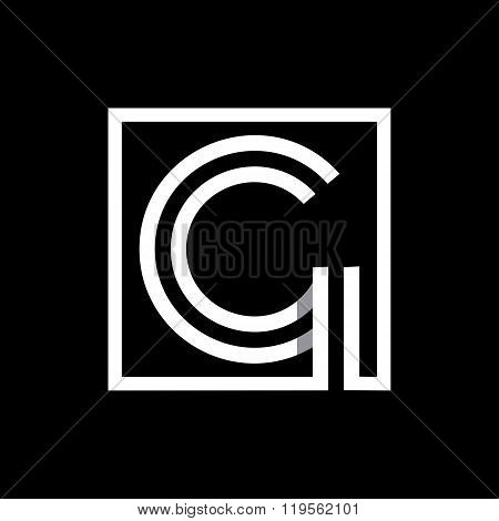 Capital letter G  . Overlapping with shadows monogram, logo, emblem.
