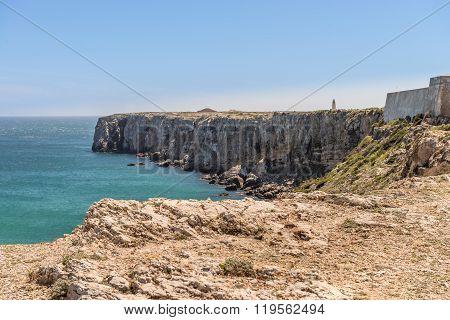 Coastline And Beach In Sagres, Algarve, Portugal