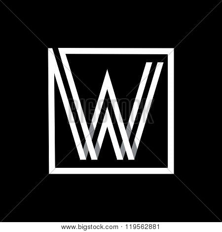 Capital letter W . Overlapping with shadows monogram, logo, emblem.
