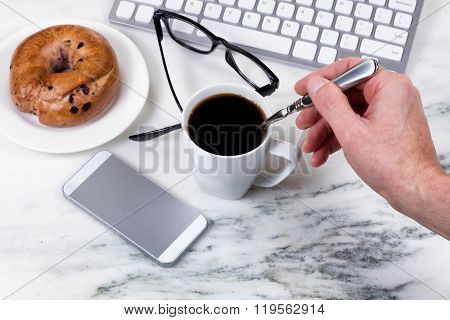 Preparing Coffee While Working At Home On White Marble Countertop