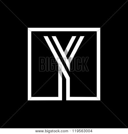 Capital letter Y. Overlapping with shadows monogram, logo, emblem.