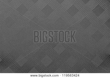 Grained Texture Checkered Fabric Of Dark Gray Or Black Color