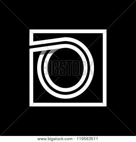 Capital letter O . Overlapping with shadows monogram, logo, emblem.