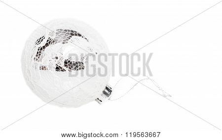 Christmas Bauble, Silver - White