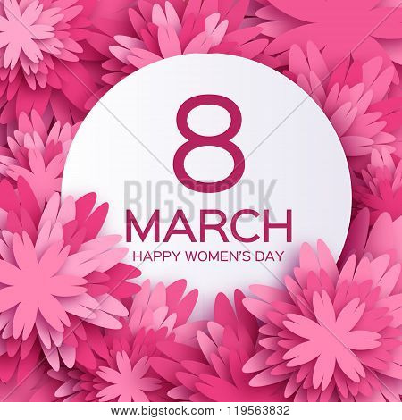 Abstract Pink Floral Greeting card - International Happy Women\'s Day - 8 March holiday background
