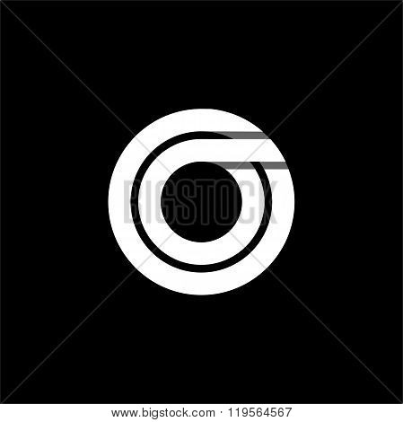 Letter O wide white stripes . Logo, monogram, emblem trendy design.