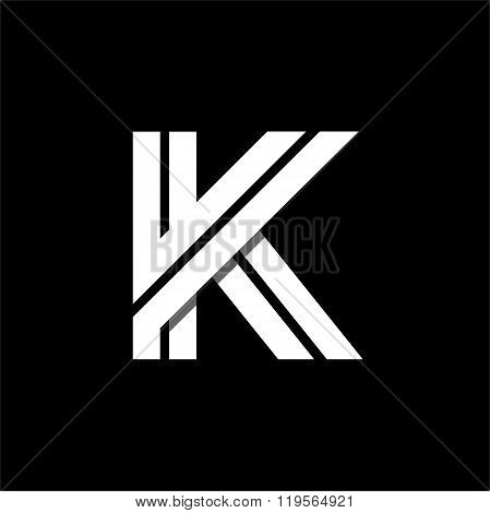 Letter K wide white stripes . Logo, monogram, emblem trendy design.