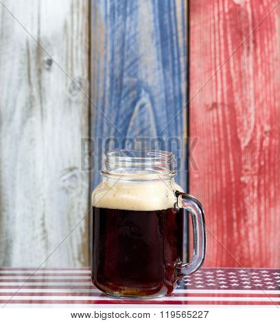 Single Beer With Faded Wooden Boards Painted In Usa National Colors