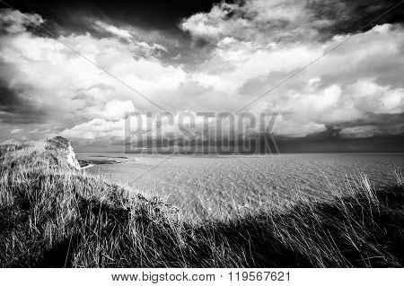 White cliffs of Dover in black and white