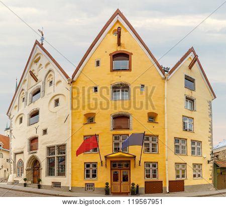Three Sisters on Pikk street in Tallinn, Estonia