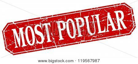 most popular red square vintage grunge isolated sign
