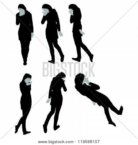 Muslim Woman Silhouette In Sorrow Pose