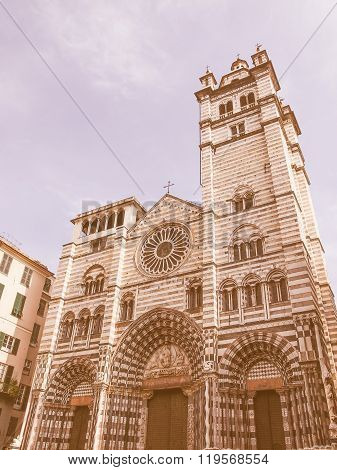 St Lawrence Cathedral In Genoa Vintage