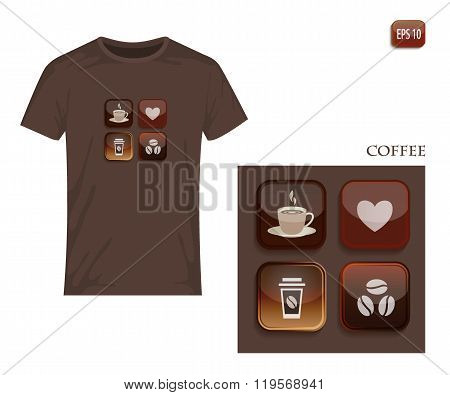 Icons and symbols in coffee tones. Vector design for printing on T-shirt