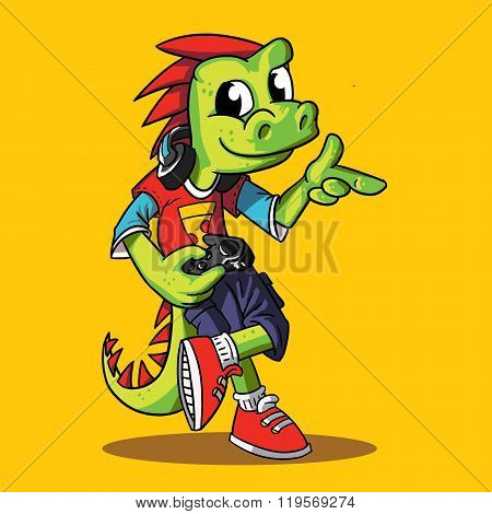 green dragon mascot playing game with yellow backgound
