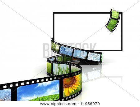 Film around blank TV