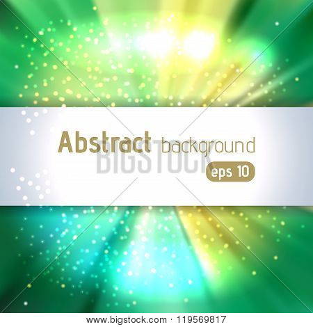 Abstract Artistic Background With Place For Text. Yellow, Green Colors. Color Rays Of Light. Origina