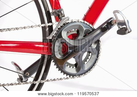 Bicycle Concept. Crankset With New Chain. Against White.
