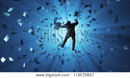 businessman falling into the hole