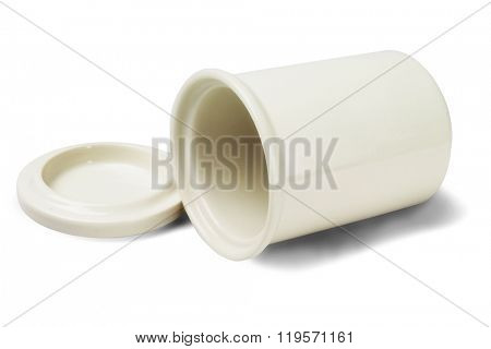 Empty Porcelain Container Lying on White Background