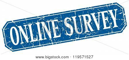 online survey blue square vintage grunge isolated sign