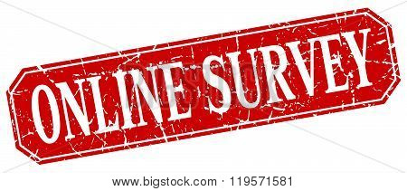online survey red square vintage grunge isolated sign