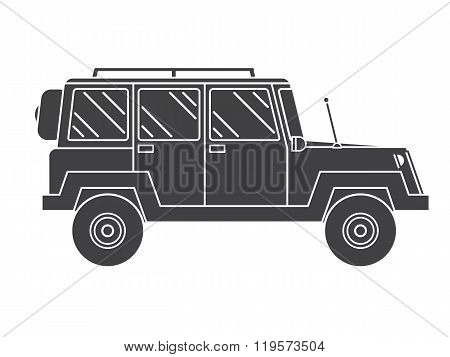 Outline Suv Black And White Vector Icon