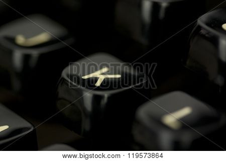 Close Up Of Lettered Keys On An Old Typewriter.