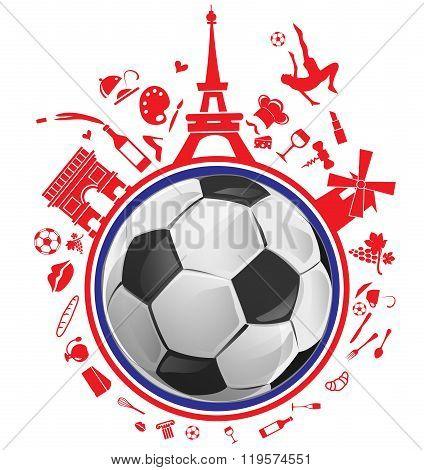 soccer ball with france symbol set on white