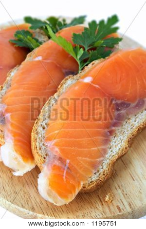 Juicy Snack From Slices Salmon
