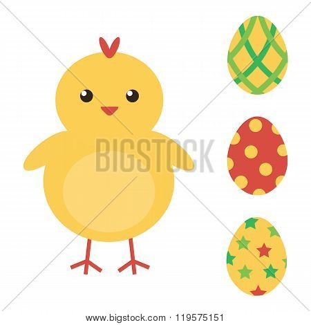 Easter eggs and cute baby chicken. Easter collection. Flat design vector illustration.