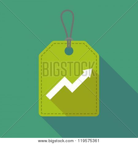Long Shadow Label Icon With A Graph