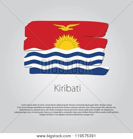 Kiribati Flag With Colored Hand Drawn Lines In Vector Format