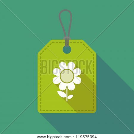 Long Shadow Label Icon With A Flower