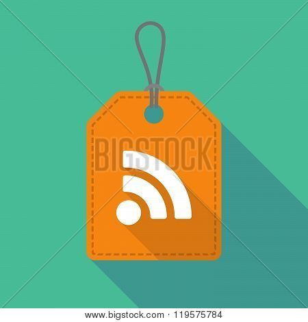 Long Shadow Label Icon With An Rss Sign
