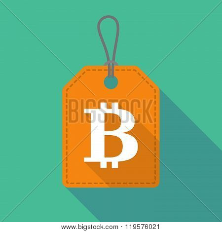 Long Shadow Label Icon With A Bit Coin Sign